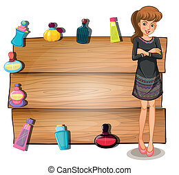 Illustration of a young girl in front of an empty signboard with perfume bottles on a white background