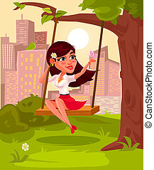 illustration of a young girl sitting on swing