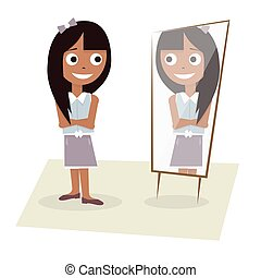 Illustration of a young girl stands before the mirror.