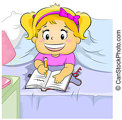 Diary - Illustration of a Young Girl Writing in Her Diary