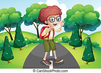 Illustration of a young traveller with a backpack standing...