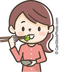 Illustration of a young woman eating