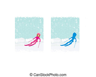 illustration of a young woman skiing down a snow covered