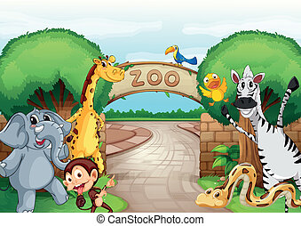 a zoo and the animals - illustration of a zoo and the...