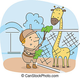 Illustration of a Zoo Caretaker at Work