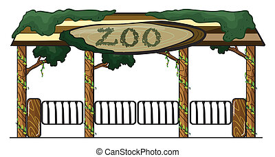 zoo entrance - illustration of a zoo entrance on a white...