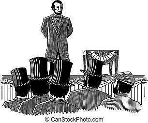 Gettysburg Address - Illustration of Abraham Lincoln giving...
