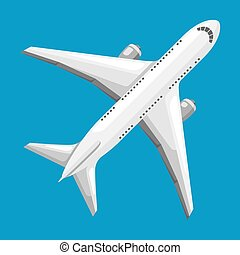 Illustration of abstract airplane on blue background