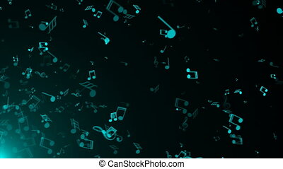 Illustration of abstract background with many flying music notes , 3D rendering