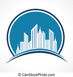 abstract blue real estate icon
