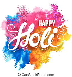 Happy Holi background - illustration of abstract colorful...