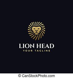 Abstract Elegant Lion Head Logo Design Template