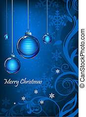 abstract floral merry christmas card