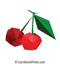 Illustration of abstract geometric polygonal cherries