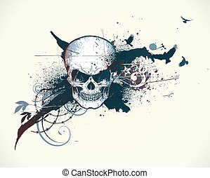 human skull - illustration of abstract messy background with...