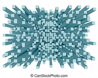 3d big explosion - Illustration of abstract mosaic 3d big...