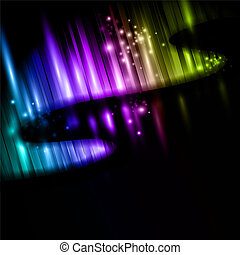 northern lights - illustration of abstract multicolored...