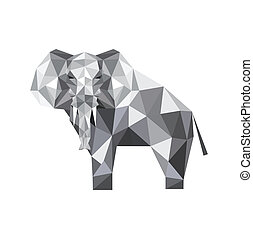 abstract origami elephant