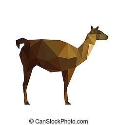 Illustration of abstract origami guanaco lama