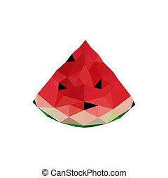 Illustration of abstract origami watermelon