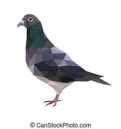 pigeon - Illustration of abstract origami pigeon