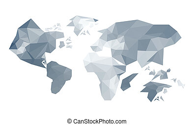 Illustration of abstract origami world map isolated on white bac