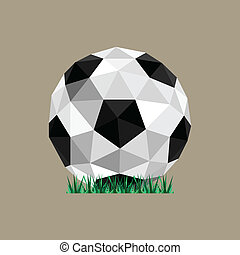 Illustration of abstract paper origami soccer ball stranding on grass