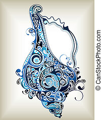 Illustration of Abstract Sea Shell in blue tone.