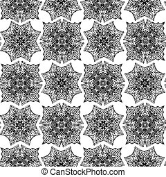 Illustration of abstract seamless pattern with monochrome floral design