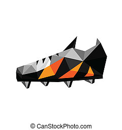 Illustration of abstract soccer polygonal shoes