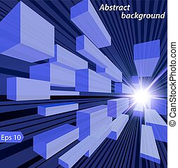 illustration of abstract space background with shining star and cubes