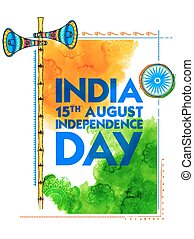 Abstract tricolor Indian flag watercolor background frame for Happy Independence Day of India
