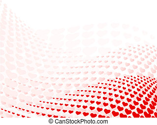 abstract wavy heart halftone background