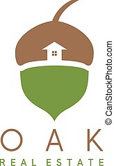 Illustration of acorn and house vector icon , real estate concept