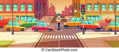 illustration of adjusting city crossroads in rush hour, traffic jam, transport moving, vehicles by crossing guard