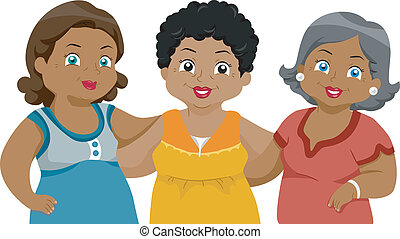 Senior Citizens Friends - Illustration of African-American...