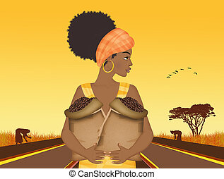 Afro girl with coffee