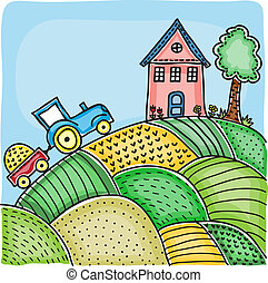 Illustration of agricultural fields, house on hill and...