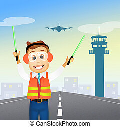 air traffic controller - illustration of air traffic...