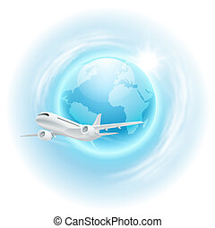 Illustration of airplane in the sky with globe