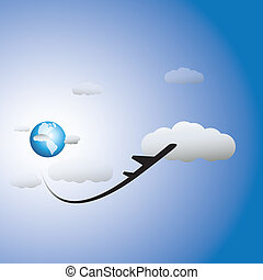 Illustration of airplane, sky with clouds & world in backdrop. The graphic shows the aircraft taking off high in air and can represent images for tourism and travel