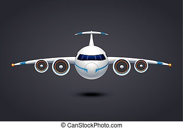illustration of airplane with turbines engine