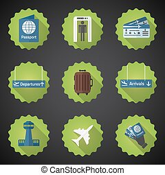 Illustration of Airport Flight traveling Flat Vector Icon Set. Include passport, tickets, arrivals dispatures signs, control tower room etc.