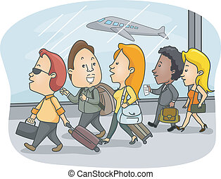 Airport Passengers - Illustration of Airport Passengers...