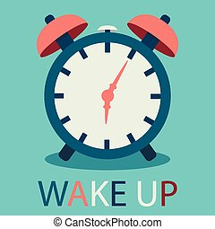 illustration of alarm clock in flat design with text