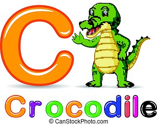 Alphabet C with Crocodile cartoon