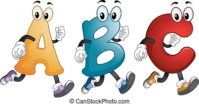 Alphabet Mascots Run - Illustration of Alphabet Mascots...