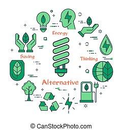 Illustration of alternative energy source - Vector linear...