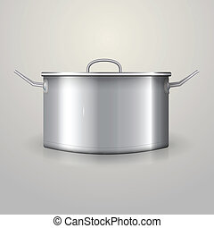 Aluminum saucepan with flat lid and two handles. Isolated vector illustration on gray.