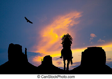 American Indian on horseback in monument Valley